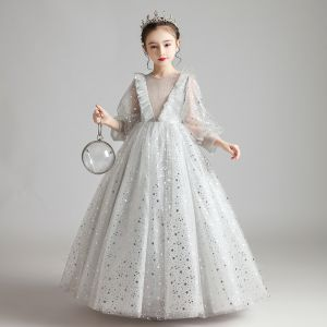 Viktorianischer Stil Grau Durchsichtige Geburtstag Blumenmädchenkleider 2020 Prinzessin Rundhalsausschnitt Geschwollenes Lange Ärmel Glanz Star Lange Rüschen