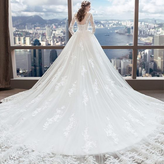Chic / Beautiful White Wedding Dresses 2018 A-Line / Princess V-Neck Pierced Long Sleeve Backless Appliques Lace Beading Ruffle Cathedral Train