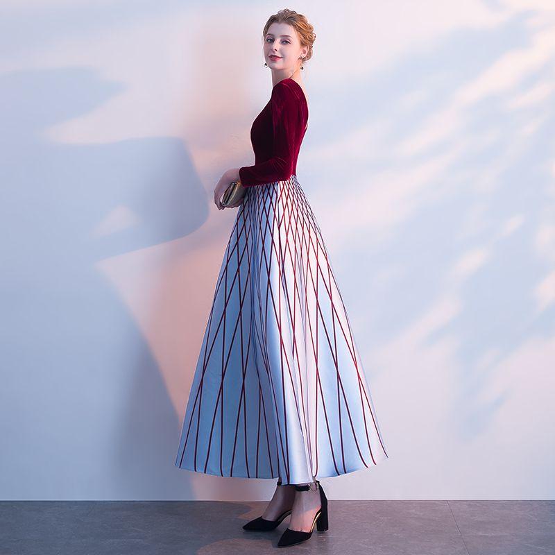 Chic / Belle Bordeaux Robe De Soirée 2018 Princesse Rayé V-Cou Manches Longues Longueur Cheville Robe De Ceremonie