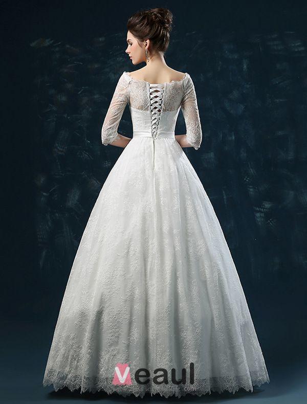 2015 Elegant A-linie Prinzessin Schultern 1/2 Ärmel Bestickte Spitze Hochzeitskleid Brautkleid