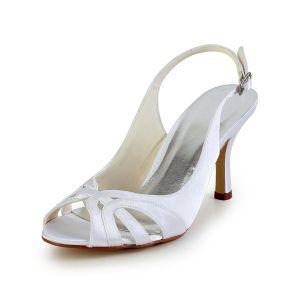 Eleganckie Białe Buty Ślubne Peep Toe Szpilki Slingback Sandały Na Obcasie