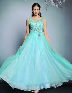 2015 Chiffon Beading Appliques Lace Long Evening Dress
