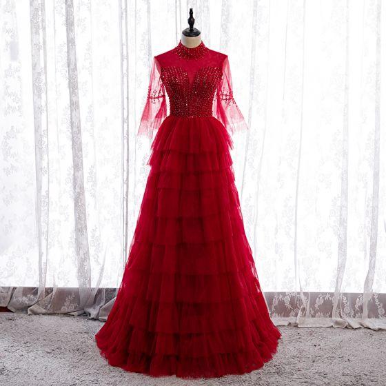 Vintage Rojo Bailando Vestidos de gala 2020 A-Line / Princess Transparentes Cuello Alto Mangas de campana Lentejuelas Rebordear Largos Volantes En Cascada Sin Espalda Vestidos Formales