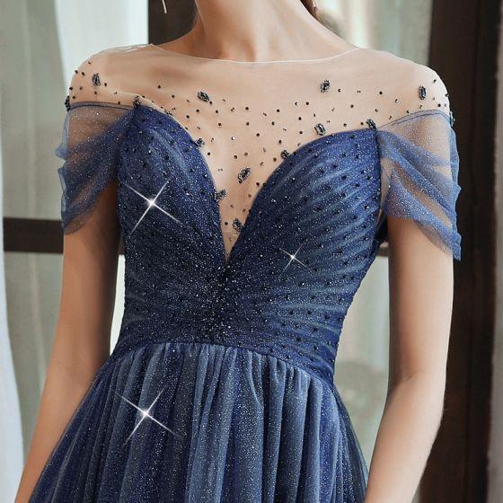 Cekinami Gwiaździste Niebo Królewski Niebieski Przezroczyste Sukienki Wieczorowe 2020 Princessa Kwadratowy Dekolt Kótkie Rękawy Frezowanie Długie Wzburzyć Bez Pleców Sukienki Wizytowe
