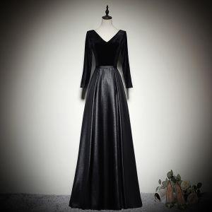 Proste / Simple Czarne Sukienki Wieczorowe 2020 Princessa Zamszowe V-Szyja Długie Rękawy Bez Pleców Długie Sukienki Wizytowe