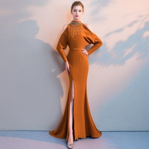 Luxury / Gorgeous Tan Evening Dresses  2019 Trumpet / Mermaid High Neck Long Sleeve Beading Sash Split Front Court Train Ruffle Backless Formal Dresses