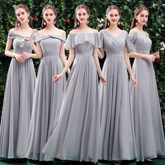 Modest / Simple Grey Bridesmaid Dresses 2021 A-Line / Princess Off-The-Shoulder Short Sleeve Backless Floor-Length / Long Wedding Party Dresses