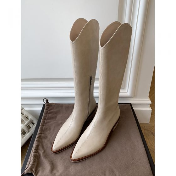 Fashion Beige Street Wear Mid Calf Womens Boots 2020 Leather 4 cm Thick Heels Low Heel Pointed Toe Boots