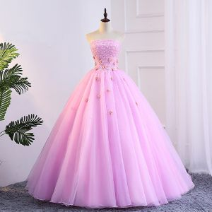Chic / Beautiful Candy Pink Prom Dresses 2018 Ball Gown Appliques Pearl Strapless Backless Sleeveless Floor-Length / Long Formal Dresses