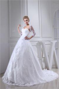 Charmante Robe De Mariée Blanche Décolleté Chérie Robe De Bal De Mariage Avec Des Paillettes Dentelle