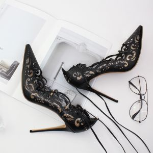 Chic / Beautiful Black Evening Party Womens Shoes 2020 X-Strap 12 cm Stiletto Heels Pointed Toe Heels