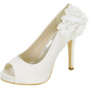 Elegant Ivory Prom Pumps 2020 Satin Appliques 11 cm Stiletto Heels Open / Peep Toe Pumps
