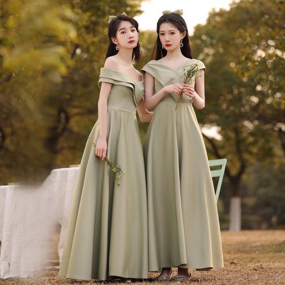 Modest / Simple Sage Green Bridesmaid Dresses 2021 A-Line / Princess Off-The-Shoulder Short Sleeve Backless Floor-Length / Long Wedding Party Dresses