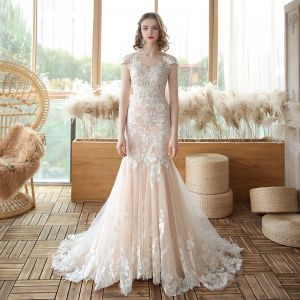 Best Champagne See-through Bridal Wedding Dresses 2020 Trumpet / Mermaid Square Neckline Sleeveless Backless Flower Appliques Lace Court Train Ruffle