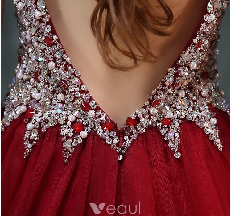 Sparkly Prom Dresses 2016 A-line V-neck Beading Crystal Rhinestone And Pearl Backless Burgundy Dress