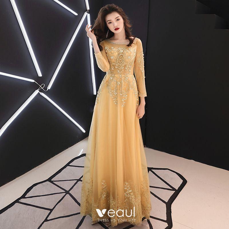 23fccca59b Piękne Złote Sukienki Wieczorowe 2019 Princessa Wycięciem Frezowanie Perła  Z Koronki Kwiat Rhinestone 3 4 Rękawy Bez Pleców ...