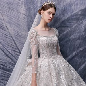 Victorian Style Champagne Bridal Wedding Dresses 2020 Ball Gown See-through Square Neckline Puffy 3/4 Sleeve Backless Appliques Sequins Beading Cathedral Train Ruffle