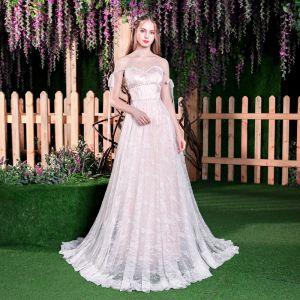 Uroczy Szampan Suknie Ślubne 2018 Princessa Frezowanie Z Koronki Perła Przy Ramieniu Bez Rękawów Bez Pleców Trenem Sweep Ślub