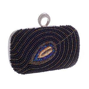 Fashion Black Pearl Square Clutch Bags 2020 Metal Rhinestone