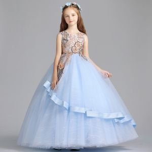 Chic / Beautiful Sky Blue Flower Girl Dresses 2019 A-Line / Princess Scoop Neck Sleeveless Embroidered Flower Pearl Sequins Floor-Length / Long Ruffle Wedding Party Dresses