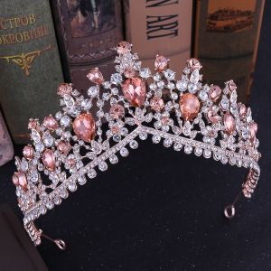 Chic / Beautiful Rose Gold Rhinestone Tiara Bridal Hair Accessories 2020 Alloy Wedding Accessories