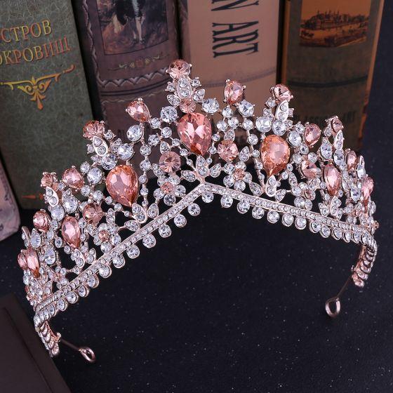 Chic / Beautiful Rose Gold Rhinestone Tiara Bridal Hair Accessories 2020 Alloy Wedding Accessories