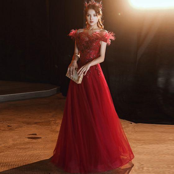 Wysokiej Klasy Burgund Sukienki Wieczorowe 2020 Princessa Przy Ramieniu Kótkie Rękawy Aplikacje Cekiny Frezowanie Pióro Długie Wzburzyć Bez Pleców Sukienki Wizytowe