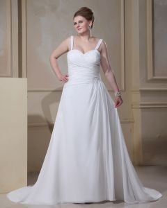 Elegant Spaghetti Straps Sleeveless Floor-Length Satin Chiffon Plus Size Wedding Dresses