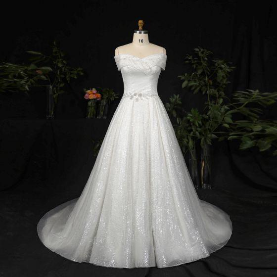 Sparkly Bling Bling Ivory Plus Size Wedding Dresses 2021 A-Line / Princess Sleeveless Lace Satin Handmade  Beading Sequins Chapel Train Wedding