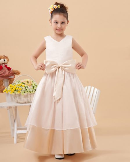 Charmeuse Round Neck Knee Length Flower Girl Dresses