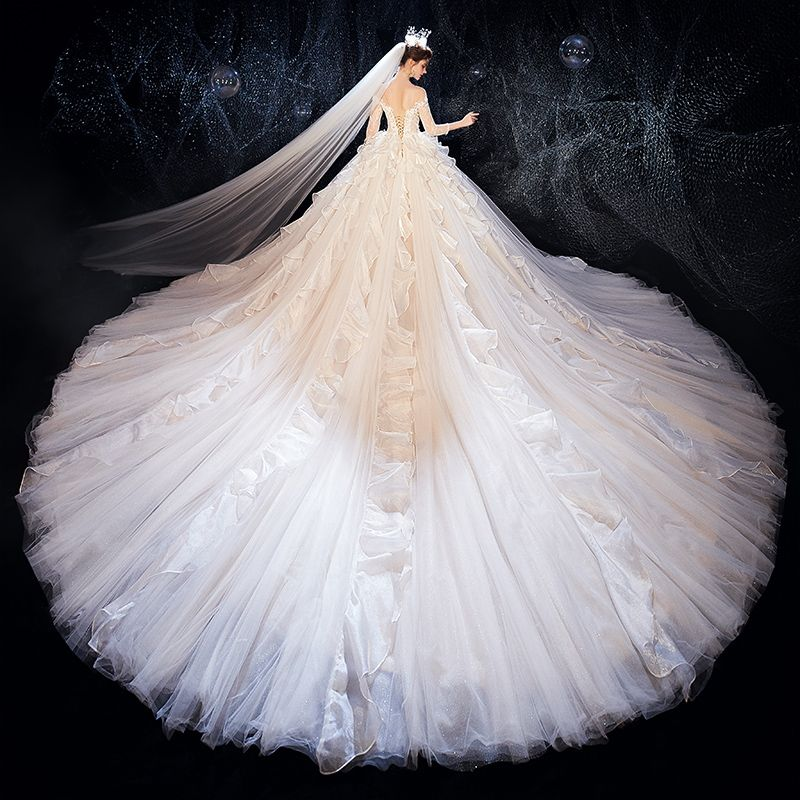 Luxury / Gorgeous Champagne See-through Wedding Dresses 2020 Ball Gown Square Neckline 3/4 Sleeve Backless Glitter Organza Appliques Lace Beading Cathedral Train Ruffle