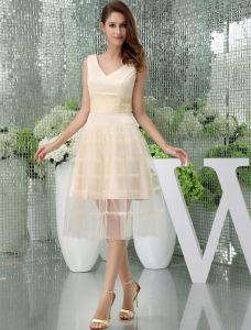 Charming A-line Shoulders V Neck Sash Tulle Cocktail Dress
