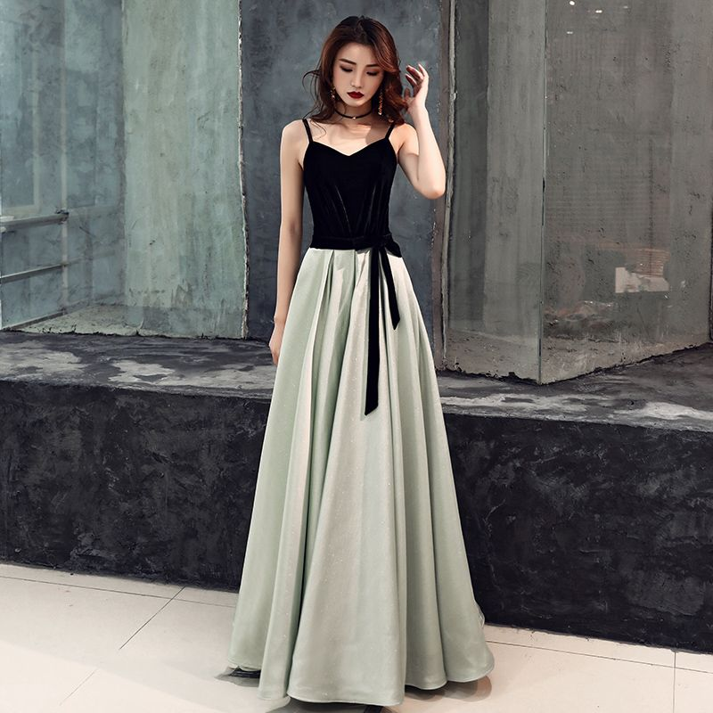 Chic / Beautiful Black Evening Dresses  2019 A-Line / Princess Spaghetti Straps Suede Bow Sleeveless Backless Floor-Length / Long Formal Dresses