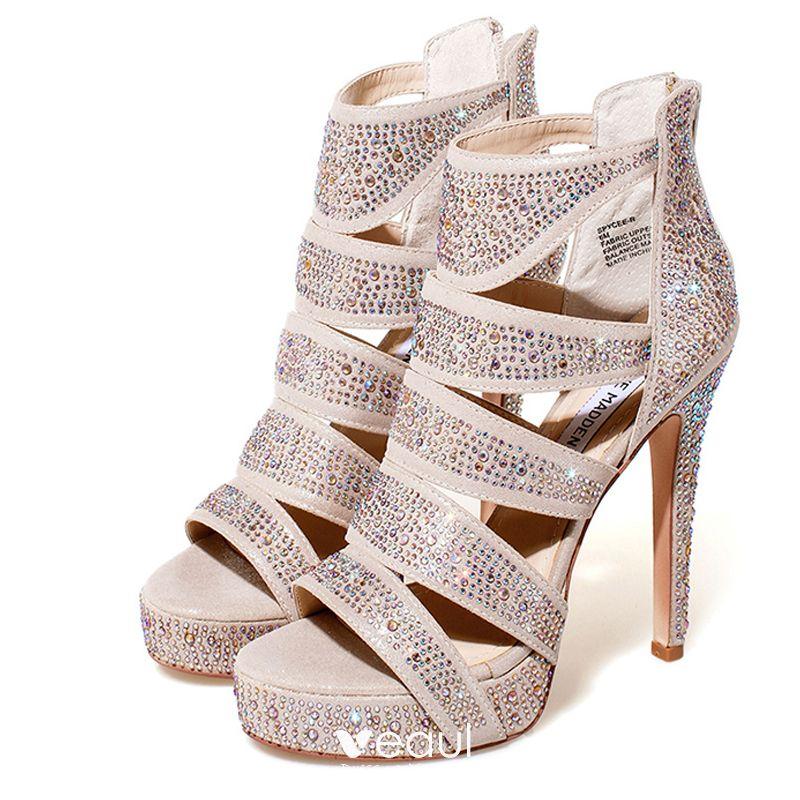Chic / Beautiful Silver Pumps 2017 Prom PU Glitter Platform Open / Peep Toe  High Heel Pumps