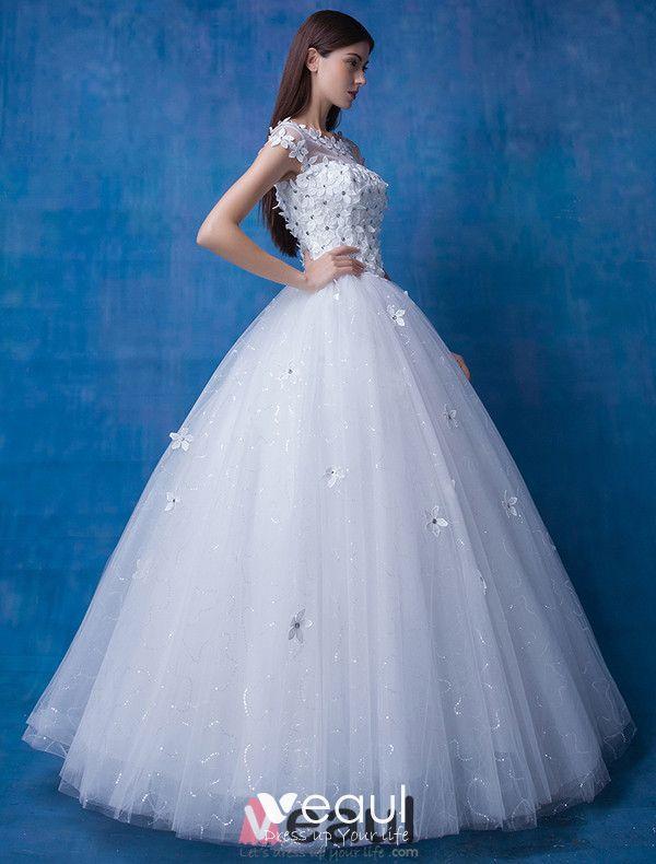 2016 Beautiful Scoop Neckline Short Sleeves Applique Flowers Rhinestone Glitter Organza Wedding Dress