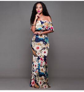 Bohemen Multi-Kleuren Toevallig Maxi-jurken 2019 Trompet / Zeemeermin Uit De Schouder Het Drukken Korte Mouwen Ruglooze Lange Dameskleding