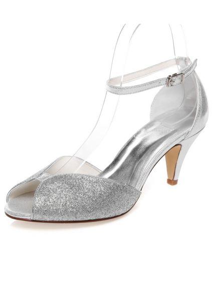 Prickelnde Braut Sandalen Peep Toe Silbernem Glitzer Brautschuhe Stöckelschuhe Mit Knöchelriemen