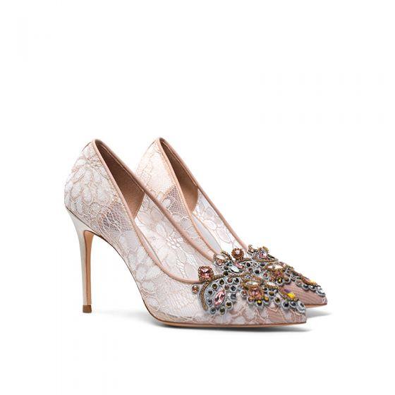 Charming Champagne Lace Rhinestone Wedding Shoes 2020 10 cm Stiletto Heels Pointed Toe Wedding Pumps