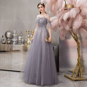 Elegant Grey See-through Evening Dresses  2019 A-Line / Princess Short Sleeve Scoop Neck Beading Glitter Tulle Floor-Length / Long Ruffle Backless Formal Dresses
