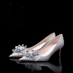 High-end Sparkly Sølv Brudesko 2019 Krystall Rhinestone Paljetter 6 cm Stiletthæler Spisse Bryllup Pumps