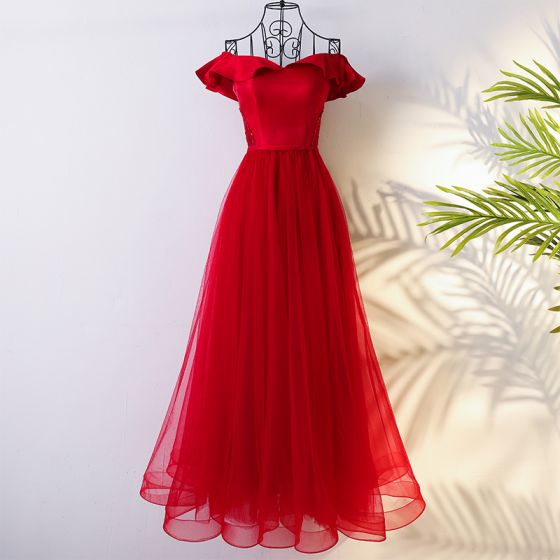 Chic / Beautiful Red Chinese style Evening Dresses  2017 A-Line / Princess Off-The-Shoulder Crossed Straps Short Sleeve Beading Sequins Floor-Length / Long Evening Party