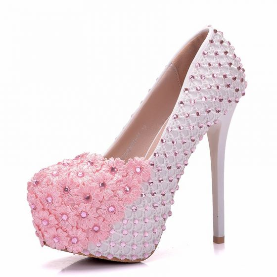 Lovely blushing pink wedding shoes 2018 lace flower rhinestone 14 cm lovely blushing pink wedding shoes 2018 lace flower rhinestone 14 cm stiletto heels round toe wedding pumps mightylinksfo