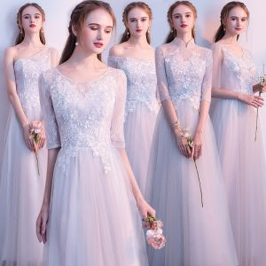 Chic / Beautiful Grey Bridesmaid Dresses 2018 A-Line / Princess 1/2 Sleeves Appliques Lace Backless Floor-Length / Long Ruffle Wedding Party Dresses
