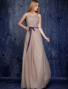 Simple Strapless Ruffle Champagne  Chiffon Bridesmaid Dress With Sash