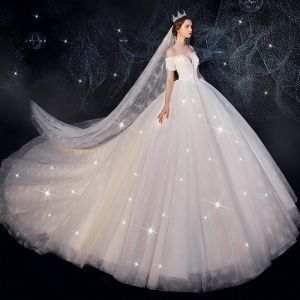 Charming Ivory Wedding Dresses 2019 Ball Gown Off-The-Shoulder Beading Sequins Short Sleeve Backless Cathedral Train