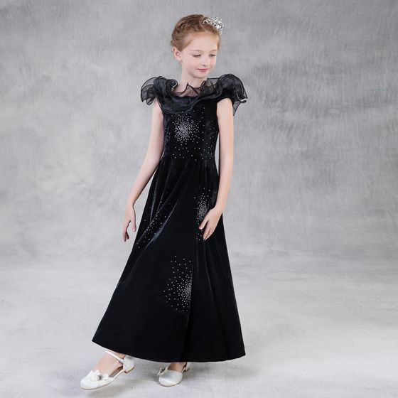 Modest / Simple Black Suede Flower Girl Dresses 2018 A-Line / Princess Square Neckline Sleeveless Glitter Rhinestone Floor-Length / Long Backless Wedding Party Dresses