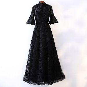 Piękne Czarne Sukienki Wieczorowe 2017 Princessa Koronkowe Wysokiej Szyi 1/2 Rękawy Długość Kostki Sukienki Wizytowe