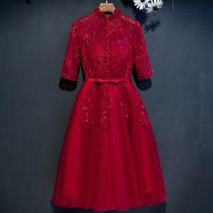 Hermoso Rojo Vestidos de graduación 2017 A-Line / Princess Con Encaje Flor Rebordear Bowknot Lentejuelas Cuello Alto 1/2 Ærmer Cortos Vestidos Formales