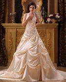 Satin Applique Halfter Kapelle Ein Online-v-ausschnitt Brautkleider Hochzeitskleid