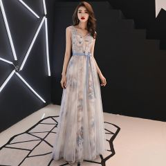 Chic / Beautiful Grey Evening Dresses  2019 A-Line / Princess V-Neck Crystal Lace Flower Bow Sleeveless Backless Floor-Length / Long Formal Dresses